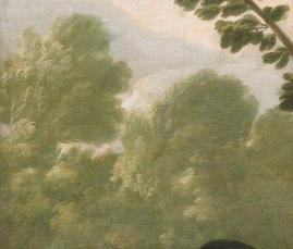 """Fig. 5b-Detalle de los árboles en """"Cazador con perros"""" de Goya."""