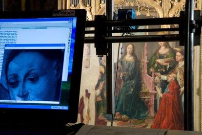 Obtención de dibujo subyacente mediante reflectografía infrarroja en una pintura sobre tabla- Foto IPCE