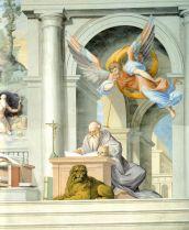 Cincinnato: San Jerónimo y el ángel trompetero, 1584-1585. El Escorial, fresco del coro alto de la basílica.