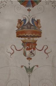Cincinnato: Detalle de la bóveda de la Sala de Cronos del Palacio del Infantado con las armas de los duques. 1578-1580.