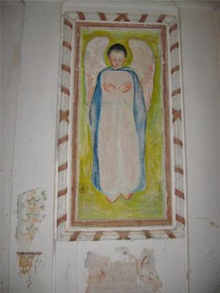 Ángel de la Cartuja de las Fuentes en Sariñena, tras la intervención