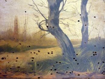 Obra con problemas de xilófagos- Foto, Escuela de Restauración
