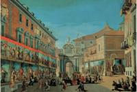 Lorenzo de Quirós: Arquitecturas efímeras para la entrada de Carlos III delante de Santa María de la Almudena. Museo de Historia, Madrid.