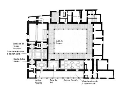 Esteban Buxó: Planta baja del Palacio del Infantado, 1862-1863. Aguafuerte. Calcografía Nacional. Se aprencian los diseños de las molduras de las salas decoradas al fresco (se incluye la localización de las salas).