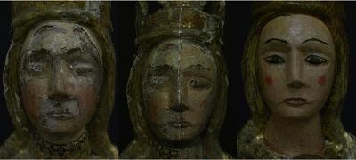 Proceso de restauración de una escultura- El antes, el intermedio y el después