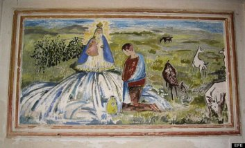 Pintura de Fray Manuel Bayeu en Fuentes de Sariñena tras la intervención