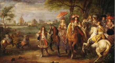 Adam Frans Van der Meulen: Paseo de Luis XIV y María Teresa delante de Vincennes, 1669.