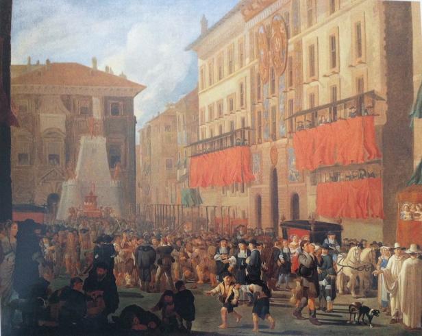 Willem Reuter: Fiesta en la embajada de España en Roma por el nacimiento del infante don Carlos, 1662.