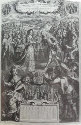"""Almanaque Real de 1680: """"A propósito del enlace y encuentro entre Carlos II y María Luisa de Orleáns""""."""