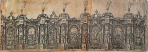 Claudio Coello: Calle de los Reinos. Arquitectura efímera levantada para decorar la entrada en Madrid de María Luisa de Orleáns, 1680.