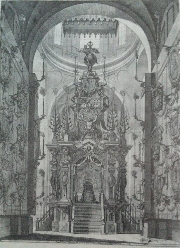 Francisco Ignacio Ruiz de la Iglesia según José de Churriguera: Catafalco para la reina María Luisa de Orleáns, 1690.