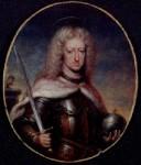 Jan Van Kessel II: Miniatura de Carlos II como San Fernando. Madrid, Colección particular.