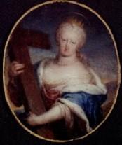9. Jan Van Kessel II: Miniatura de Mariana de Neoburgo como Santa Elena. Madrid, Colección particular.