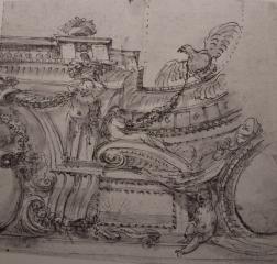Agostino Mitelli: Posible dibujo para la sala de La Aurora del Alcázar de Madrid. Berlin, Kunstbibliothek.