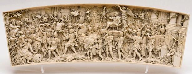 Triunfo de Constantino. Eboraría del Museo de Navarra.