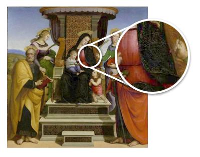 Rafael, ejemplo de manto de la Virgen ennegrecido