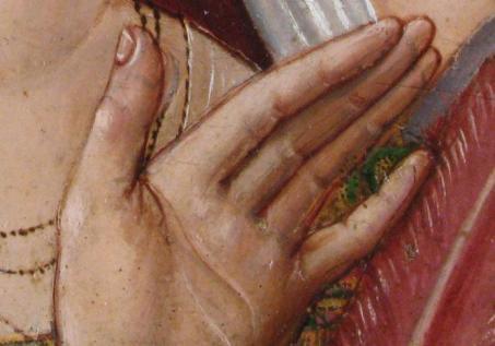 Detalle de la mano. Transparencia del dibujo subyacente