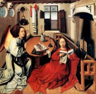 Robert Campin: La Anunciación (antes de la limpieza)