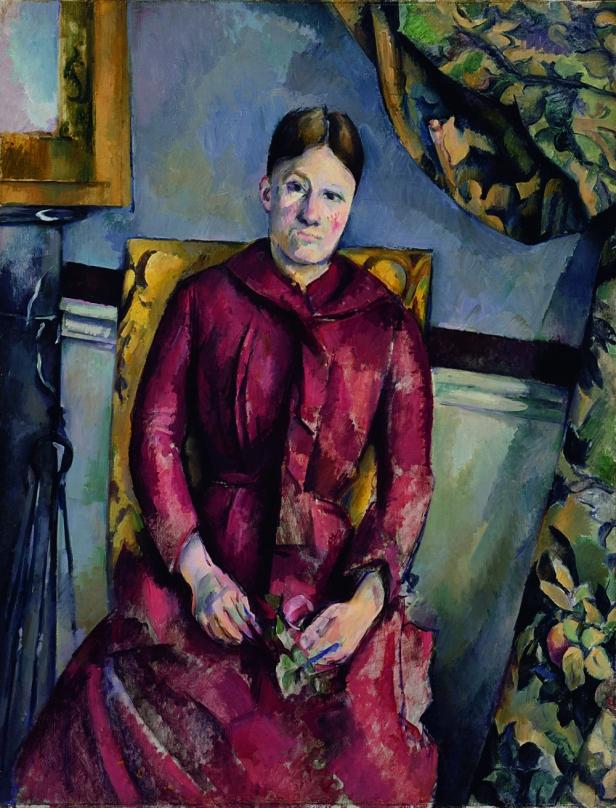 Paul Cézanne- Madame Cézanne con un vestido rojo