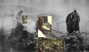 Recreación con los fragmentos conservados del Entierro de Cristo. Los fragmentos se conservan en el Museo Sorolla. Gracias a Los Laberintos del Arte.