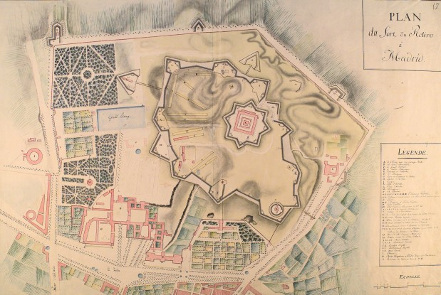 Anónimo : Plan du fort du Retiro a Madrid, 1811. Real Biblioteca, Madrid.