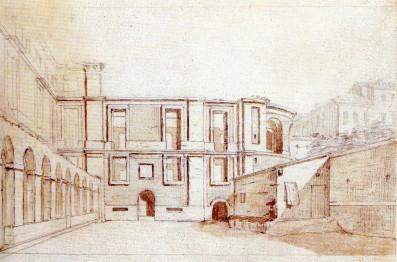 Anónimo: Vista de la galería de arcos y del cuerpo absidial del edificio del Museo, ca. 1813. Museo Nacional del Prado, Madrid.