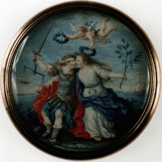 Anónimo de escuela francesa: Alegoría de la Paz y la Justicia, 1800. Gouache sobre marfil. Museo Lázara Galdiano, Madrid.