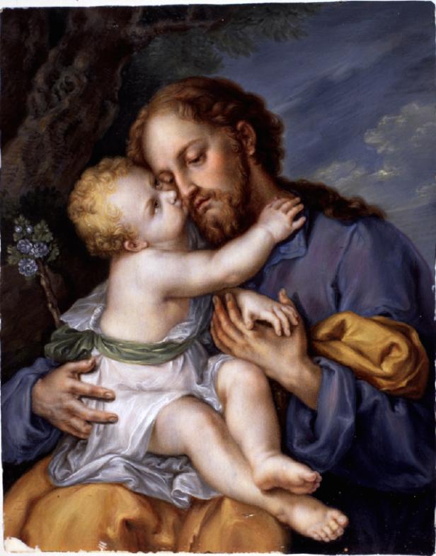 Vicente López, atribuído: San José con el niño, 1819-1820. Gouache sobre marfil. Museo Lázaro Galdiano.