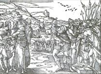 """Bernard Salomon: """"Abraham y Melquisedec"""", en el libro """"Quadrins historiques de la Bible""""."""