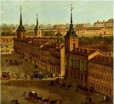 Antonio Joli: Detalle del lienzo 'La Calle Alcalá', ca. 1750. Fuente: Real Academia de las Bellas Artes de San Fernando, Madrid.