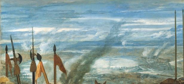 """Velázquez: Detalle del paisaje en las """"Lanzas""""."""