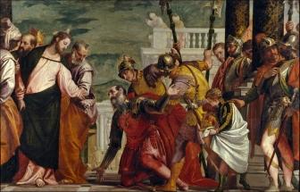 """Veronés: """"Jesús y el Centurión"""". Museo Nacional del Prado, Madrid."""