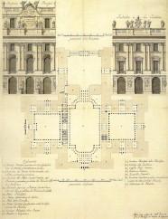 Ventura Rodríguez: Proyecto de Filippo Juvarra para el Palacio Real Nuevo. Planta y fachada principal y fachada a los jardines. Archivo General de Palacio, Madrid.