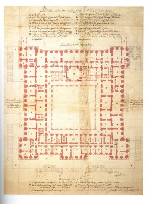 Juan Bautista Sachetti: Planta del Palacio Real Nuevo con la Capilla en el lado norte. Archivo General de Palacio, Madrid.