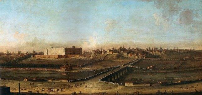 Antonio Joli: Vista del Palacio Real de Madrid, ca. 1762. Palacio Real de Nápoles.