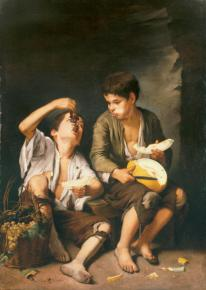 Bartolomé Esteban Murillo: Niños comiendo uvas y melón. Alte Pinakothek, Munich.