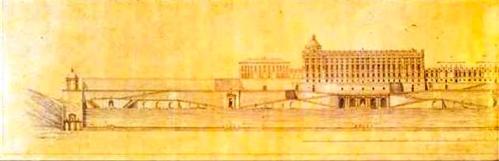 Juan Bautsita Sachetti: Proyecto para el Palacio Real, 1752. Museo de Historia de Madrid. Calco sobre un original perdido, realizado en 1847 por el ingeniero Juan Ribera.