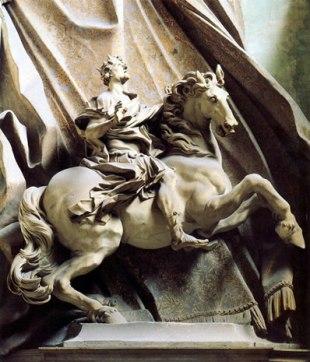 Gian Lorenzo Bernini: Estatua ecuestre de Constantino. Escalina de San Pedro del Vaticano, Roma.