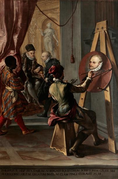 """Giovanni Antonio Burrini: """"Audiencia del rey Felipe II"""". Colección particular."""