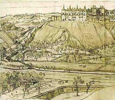 Anton Van der Wyngaerde: Detalle de la Vista de Madrid donde puede verse el Alcázar y la Casa de Campo. 1562.