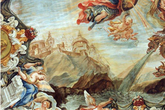 Juan Delegado: Visión de la Jerusalén Celeste. Capilla de la Inmaculada, Instituto San Isidro, Madrid.