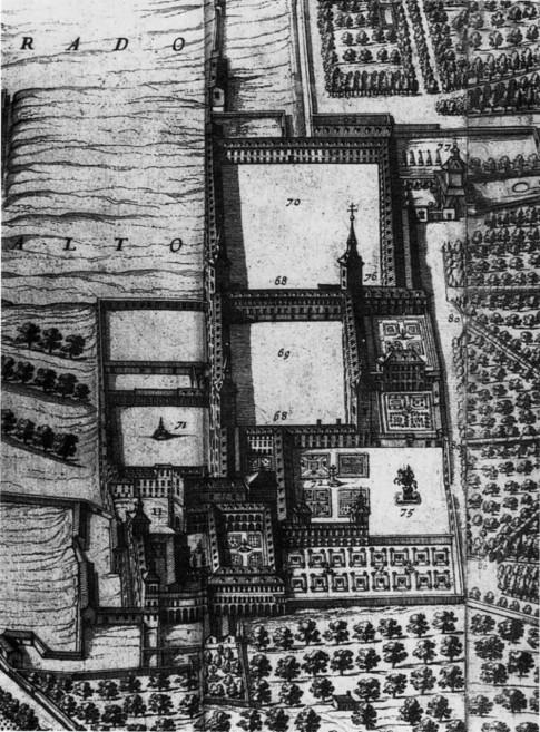 Pedro Teixeira: Detalle del plano de Madrid donde se ve la estructura del Palacio del Buen Retiro. 1656