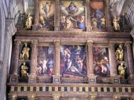 Detalle del Retablo Mayor de la Básilica de El Escorial con pinturas de Pellegrino Tibaldi y Federico Zúccaro.