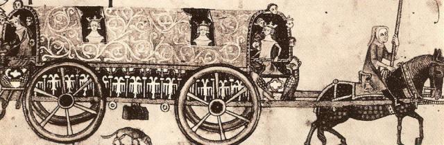 Dibujo medieval en el que se observa el tranporte de la corte y de parte de sus pertenencias.