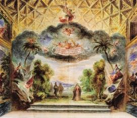 """Juan Hidalgo: Representación en el Alcázar de Madrid de """"Los Celos hacen Estrellas"""". Viena, Osterreichische National Bibliothek."""