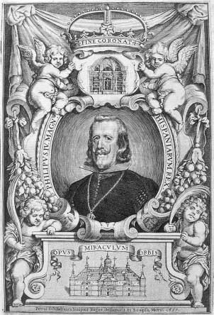 Retrato alegórico de Felipe IV conmemorando la terminación del Panteón de El Escorial por Pedro Villafranca y Malagón (diseño y grabado). 1657.