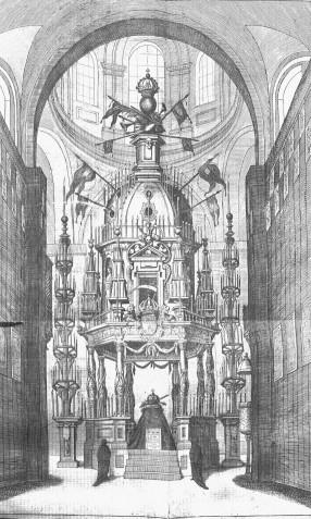 Túmulo de Felipe IV erigido en la Encarnación de Madrid, Pedro de Villafranca (grabador) sobre traza de Sebastián de Herrera Barnuevo, 1666.