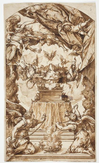 Adoración del Arca de la Alianza. Sebastián de Herrera Barnuevo, dibujo de tinta parda sobre papel, ca. 1660. Museo Nacional del Prado.