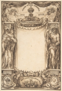 Diseño para la portada de la descripción de las honras fúnebres a Felipe IV, Sebastián de Herrera Barnuevo. Metropolitan Museum of Art, Nueva York.