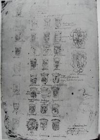 Estudios para escudos de armas y jeroglíficos. Sebastián de Herrera Barnuevo. Archivo Histórico Nacional de Madrid.